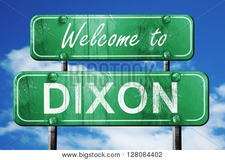 dixon vintage green road sign with blue sky background