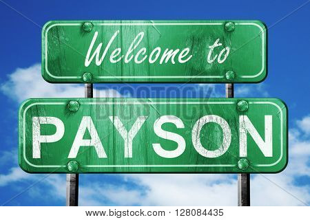 payson vintage green road sign with blue sky background