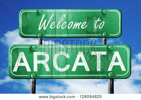 arcata vintage green road sign with blue sky background