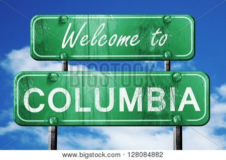 columbia vintage green road sign with blue sky background