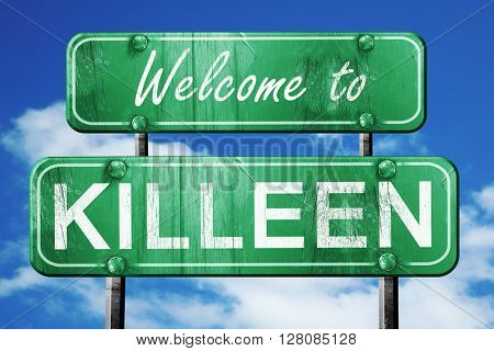killeen vintage green road sign with blue sky background