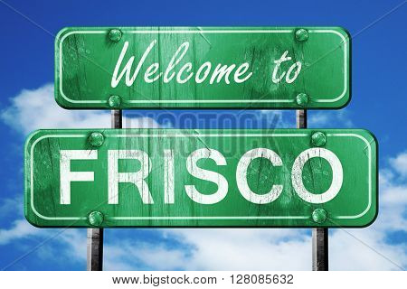 frisco vintage green road sign with blue sky background