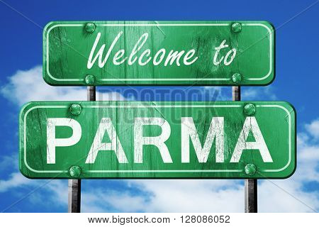 parma vintage green road sign with blue sky background