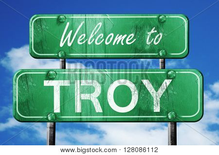 troy vintage green road sign with blue sky background
