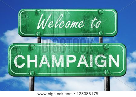 champaign vintage green road sign with blue sky background