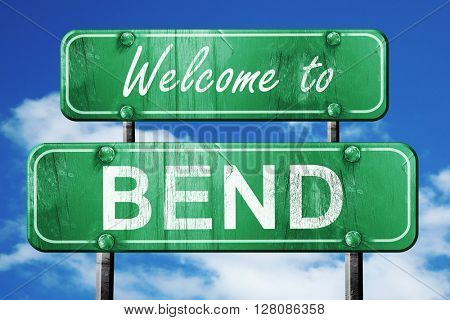 bend vintage green road sign with blue sky background