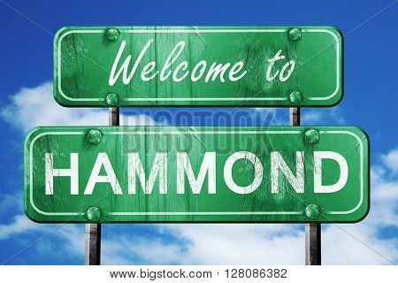 hammond vintage green road sign with blue sky background