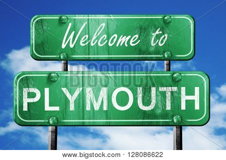 plymouth vintage green road sign with blue sky background