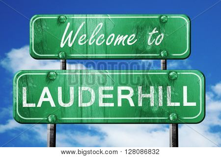 lauderhill vintage green road sign with blue sky background
