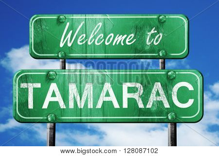 tamarac vintage green road sign with blue sky background