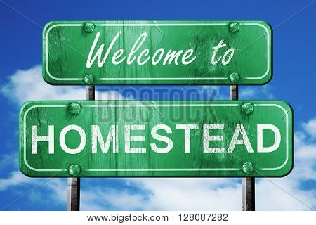 homestead vintage green road sign with blue sky background