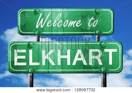 elkhart vintage green road sign with blue sky background