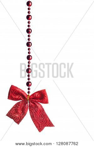 red beads garland isolated on white background