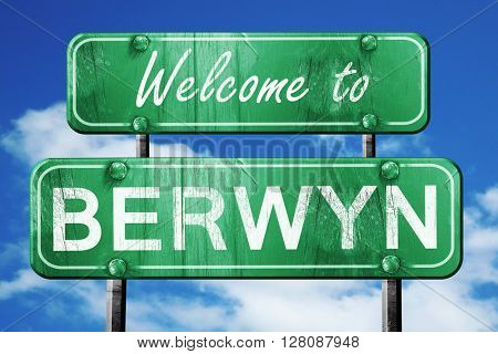 berwyn vintage green road sign with blue sky background