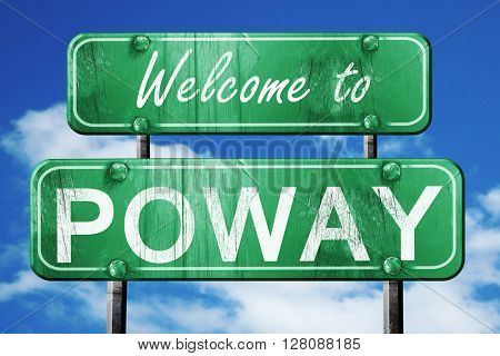 poway vintage green road sign with blue sky background