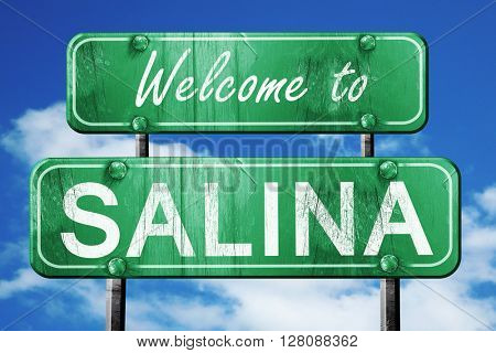 salina vintage green road sign with blue sky background