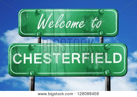 chesterfield vintage green road sign with blue sky background