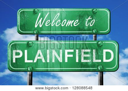 plainfield vintage green road sign with blue sky background