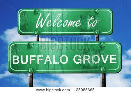 buffalo grove vintage green road sign with blue sky background