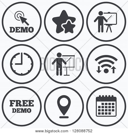 Clock, wifi and stars icons. Demo with cursor icon. Presentation billboard sign. Man standing with pointer symbol. Calendar symbol.
