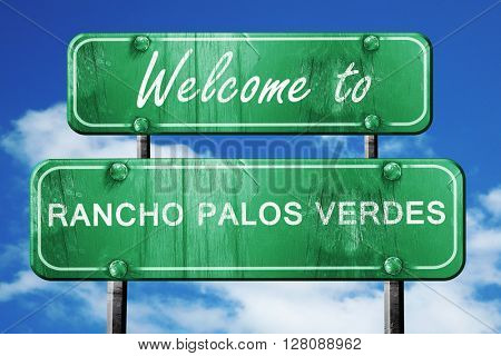 rancho palos verdes vintage green road sign with blue sky backgr