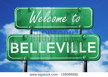 belleville vintage green road sign with blue sky background
