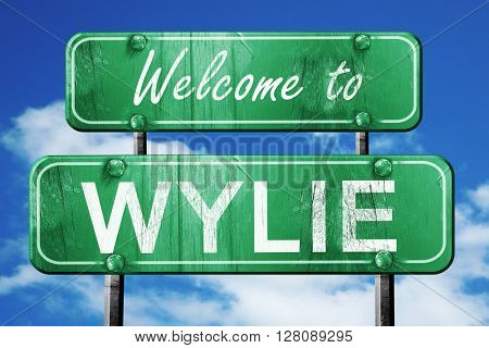 wylie vintage green road sign with blue sky background