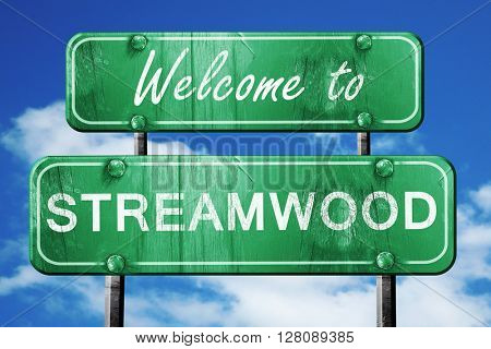 streamwood vintage green road sign with blue sky background