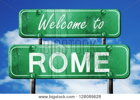 rome vintage green road sign with blue sky background