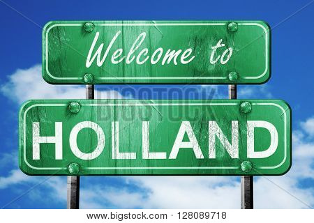holland vintage green road sign with blue sky background