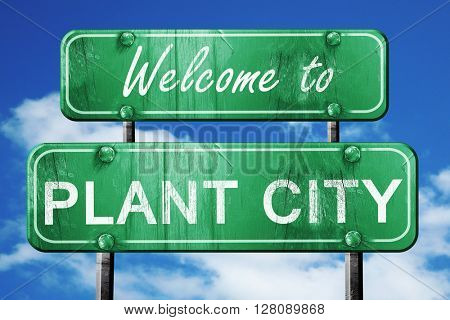 plant city vintage green road sign with blue sky background