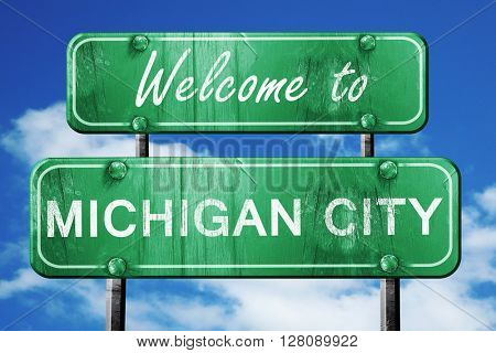 michigan city vintage green road sign with blue sky background