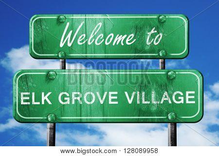 elk grove village vintage green road sign with blue sky backgrou