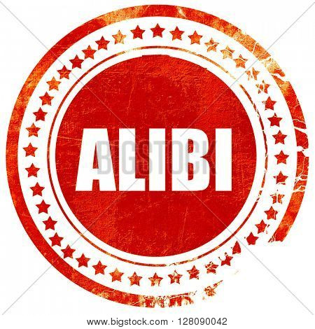alibi, grunge red rubber stamp with rough lines and edges
