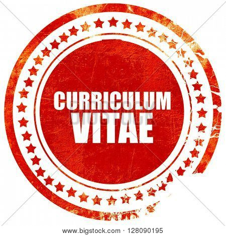 curriculum vitae, grunge red rubber stamp with rough lines and e