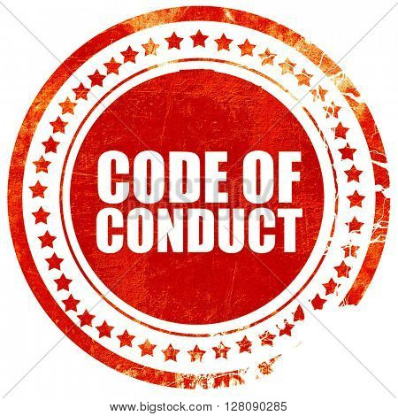code of conduct, grunge red rubber stamp with rough lines and ed