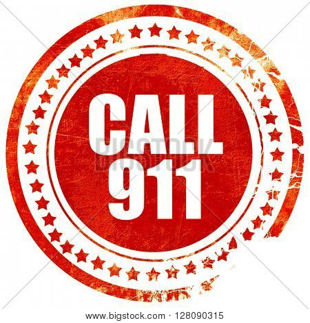call 911, grunge red rubber stamp with rough lines and edges