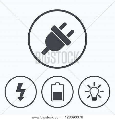 Electric plug icon. Light lamp and battery half symbols. Low electricity and idea signs. Icons in circles.