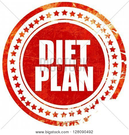 diet plan, grunge red rubber stamp with rough lines and edges