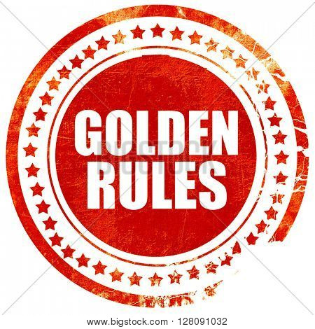 golden rules, grunge red rubber stamp with rough lines and edges
