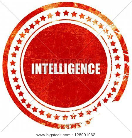 intelligence, grunge red rubber stamp with rough lines and edges