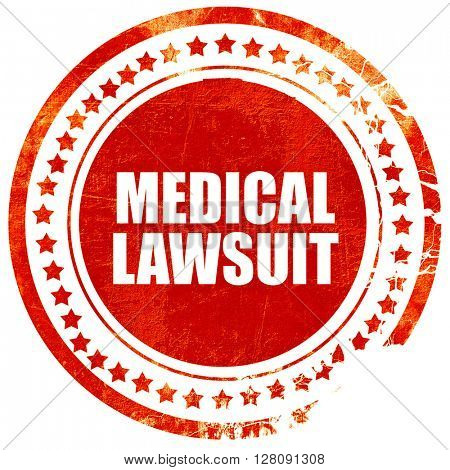 medical lawsuit, grunge red rubber stamp with rough lines and ed