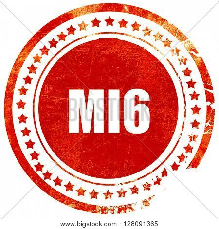 mi6 secret service, grunge red rubber stamp with rough lines and