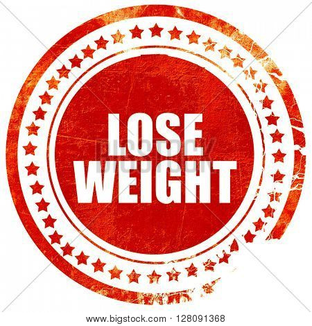 lose weight, grunge red rubber stamp with rough lines and edges