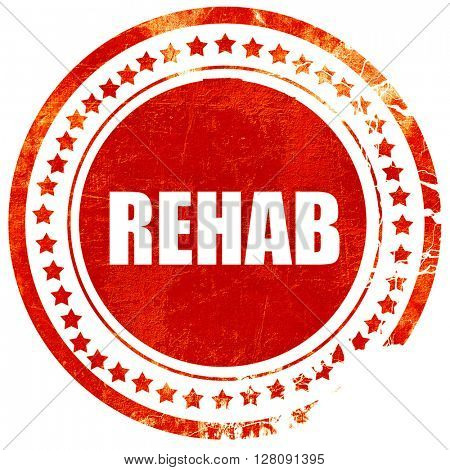 rehab, grunge red rubber stamp with rough lines and edges