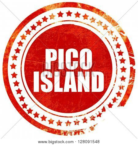 pico island, grunge red rubber stamp with rough lines and edges