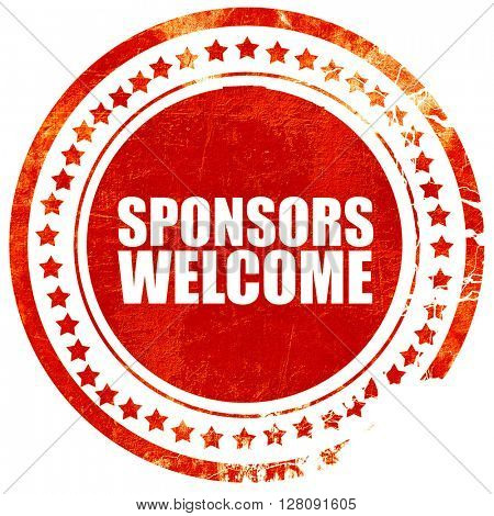 sponsors welcome, grunge red rubber stamp with rough lines and e