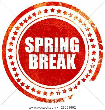 spring break, grunge red rubber stamp with rough lines and edges