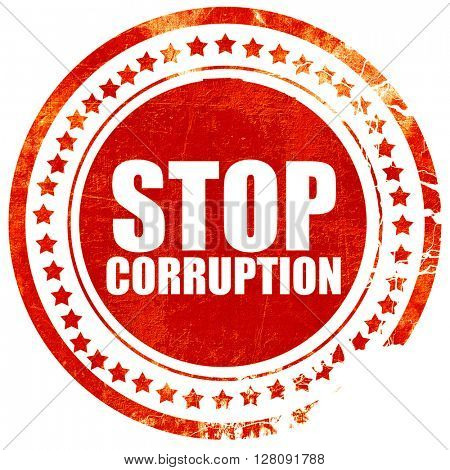 stop corruption, grunge red rubber stamp with rough lines and ed