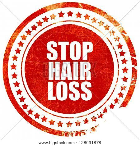 stop hair loss, grunge red rubber stamp with rough lines and edg